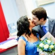 Happy married couple kissing with love — Stock Photo #9921509