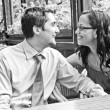 Happy carefree couple laughing in honeymoon - Stock fotografie