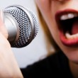 Closeup on female singer mouth and microphone — Stock Photo