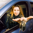 Woman offering keys to new car — Stock Photo #9921695