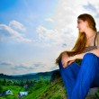 Woman looking over panorama — Stock Photo #9921762