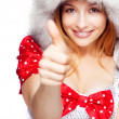 Winter portrait of joyful woman showing ok sign — Stock Photo #9921764