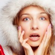 Surprise Christmas concept - one amazed woman — Stock Photo #9921765