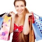 Kerstmis winkelen concept - vrouw met huidige tassen — Stockfoto
