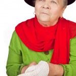 Elegant senior old lady and white glove — Stock Photo #9922157