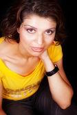 Edad una media mujer con los ojos bien grandes — Foto de Stock