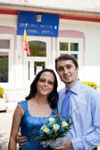 Just married - happy young couple outdoor — Stock Photo
