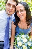 Mutlu sadece evli çift portresi — Stok fotoğraf