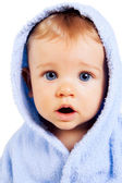 Surprise concept - baby boy with funny amazed face — Stock Photo