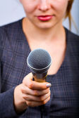 Reporter taking interview or opinion poll — Stock Photo