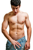 Potency and penis size concept - man looking in his pants — Stock Photo