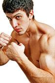 Hombre duro boxeador muscular listo para pelear — Foto de Stock