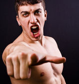Scream of furious angry violent man — Stock Photo