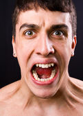 Scream of shocked and scared man — Stock Photo