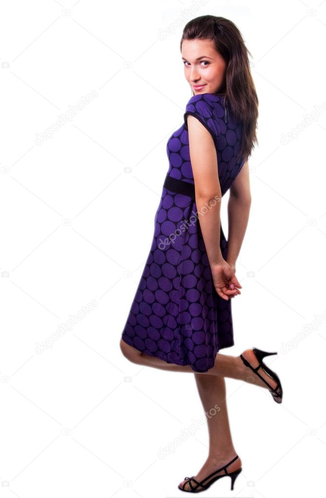 Woman with nice dress and shoes in full body on white — Stock Photo #9921230