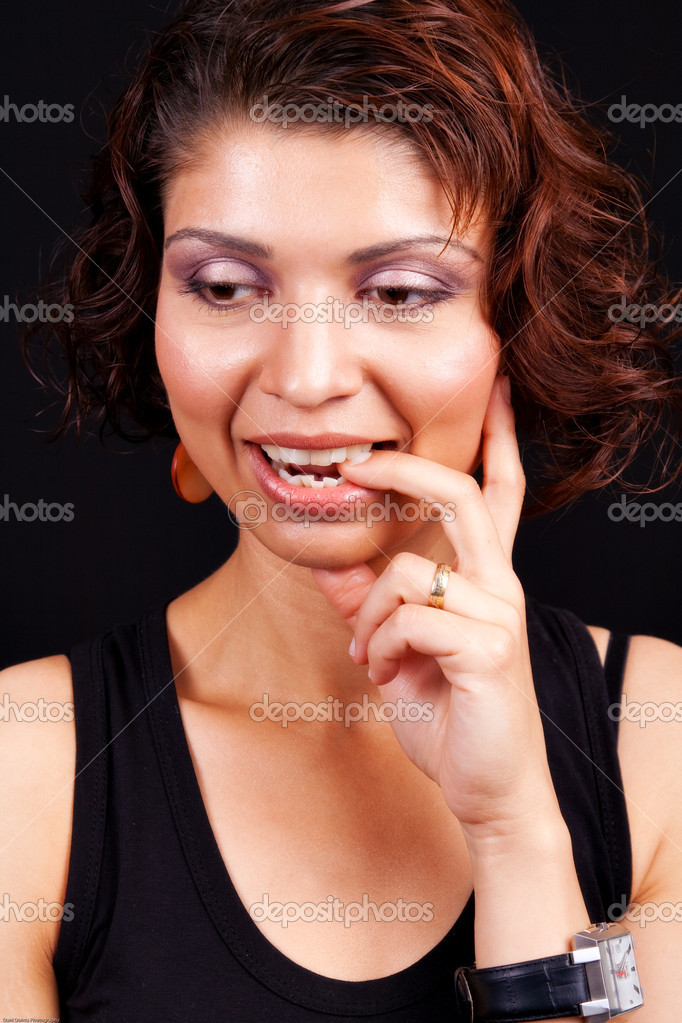 Idea concept - pensive happy indian female — Stock Photo #9921361