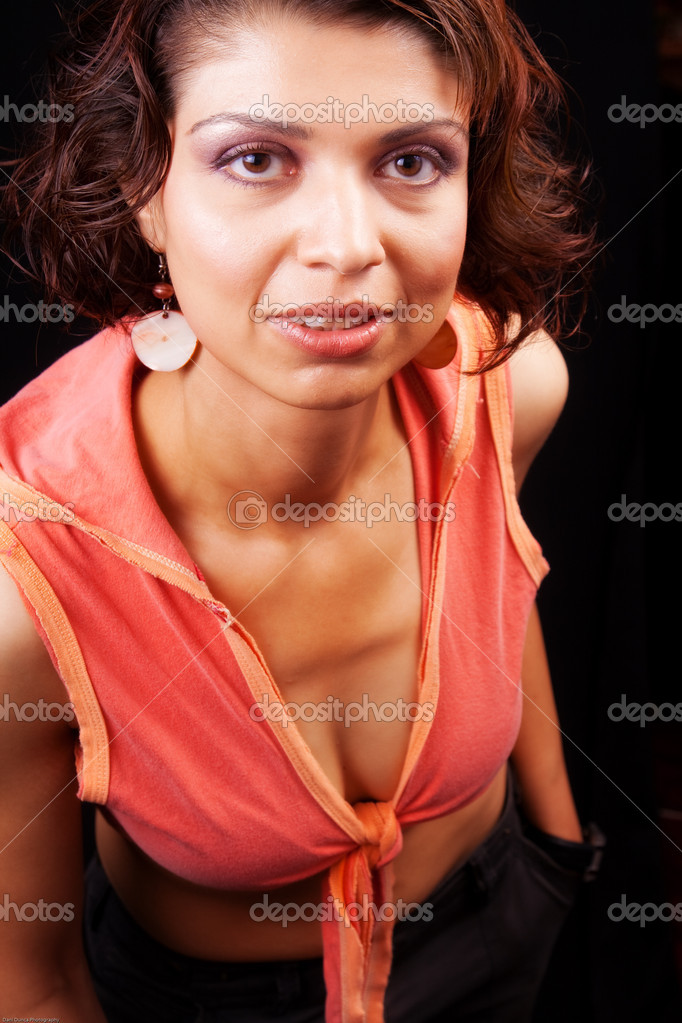 Studio shot of brunette middle aged woman  Lizenzfreies Foto #9921365