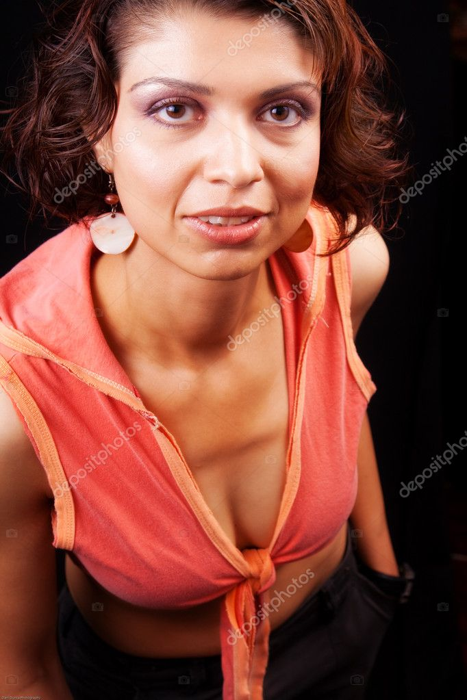 Studio shot of brunette middle aged woman  Foto Stock #9921365