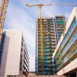 Stock Photo: Scaffolds and cranes at construction site
