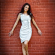 Sexy young elegant woman over brick wall — Stock Photo
