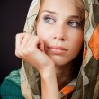 Sad sensual melancholic woman with vail on head — Stockfoto