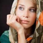Sad sensual melancholic woman with vail on head — Stock Photo