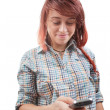 Teen woman reading sms on mobile phone — Stock Photo