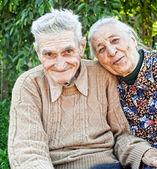 Happy and joyful old senior couple — Stock Photo