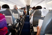 Interior of airplane with inside — Stock Photo