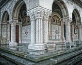Columns of old antique orthodox romanian church — Stock Photo
