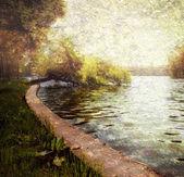 Nature serene pastel - trees and lake — Stock Photo