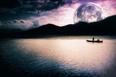 Fantasy landscape - moon, lake and boat — Stock Photo