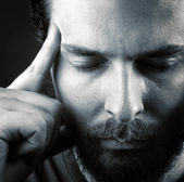 Headache or think meditation concept — Stock Photo