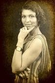 One elegant woman in retro vintage style — Stock Photo