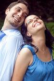 Portrait of happy joyful playful couple — Stock Photo