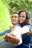 Joyful happy young couple having fun — Stock Photo