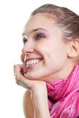 Cara de una mujer joven alegre feliz — Foto de Stock