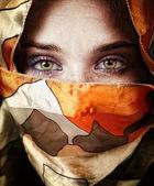 Eyes of beautiful mystery sensual woman — Stock Photo