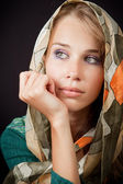 Sad sensual melancholic woman with vail on head — Stock Photo
