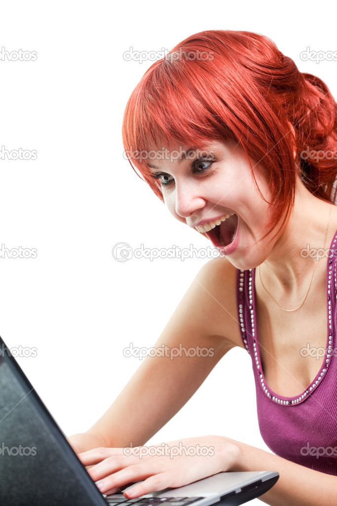 Happy woman surfing internet on laptop over white — Stock Photo #9933553