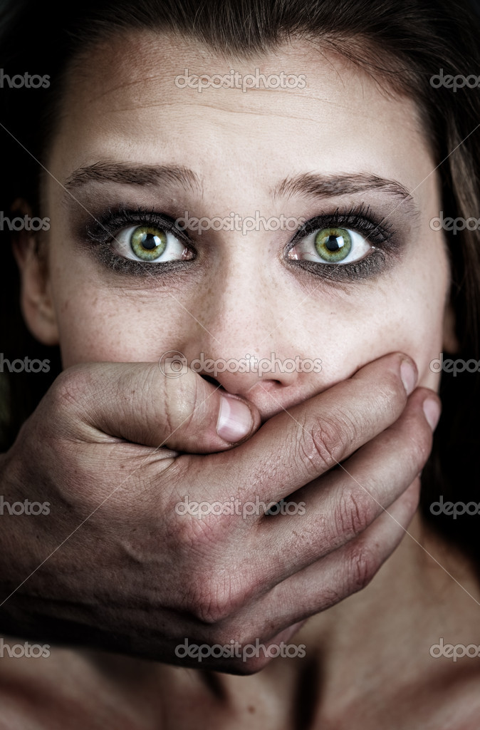 Fear of woman victim of domestic violence and abuse — Photo #9933587
