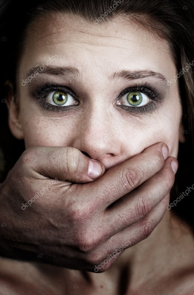 Fear of woman victim of domestic violence and abuse — Stok fotoğraf #9933587