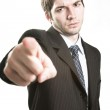 Angry boss or furious business man pointing — Stock Photo
