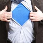 Superman business concept - super hero businessman — Stock Photo
