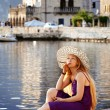 Beautiful woman relaxing by the sea in Montenegro — Stock Photo