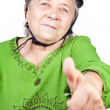 Confident old senior cyclist woman — Stock Photo