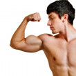 Man with muscular biceps isolated on white — Stock Photo #9980816