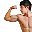 Man with muscular biceps isolated on white — Stock Photo