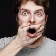 Man in shock after finding secret news — Stock Photo #9981434