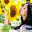 Young woman in sunflower field — Stock Photo